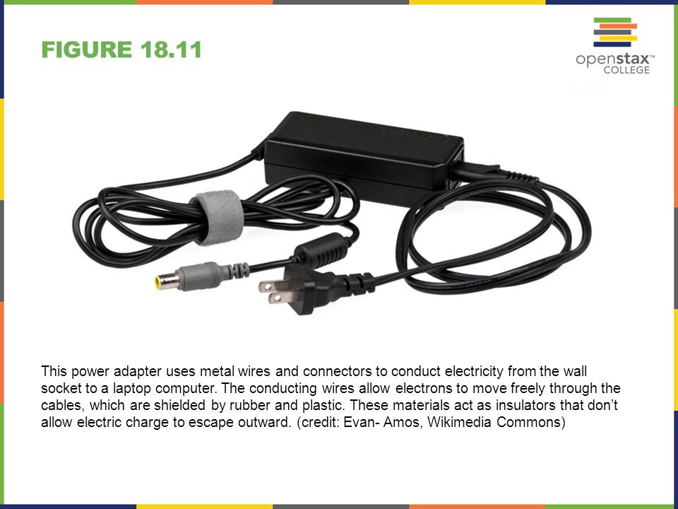FIGURE 18.11 This power adapter uses metal wires and connectors to conduct electricity from the wall socket to a laptop computer. The conducting wires