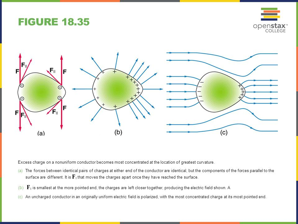 FIGURE 18.36 A very pointed conductor has a large charge concentration at the point.