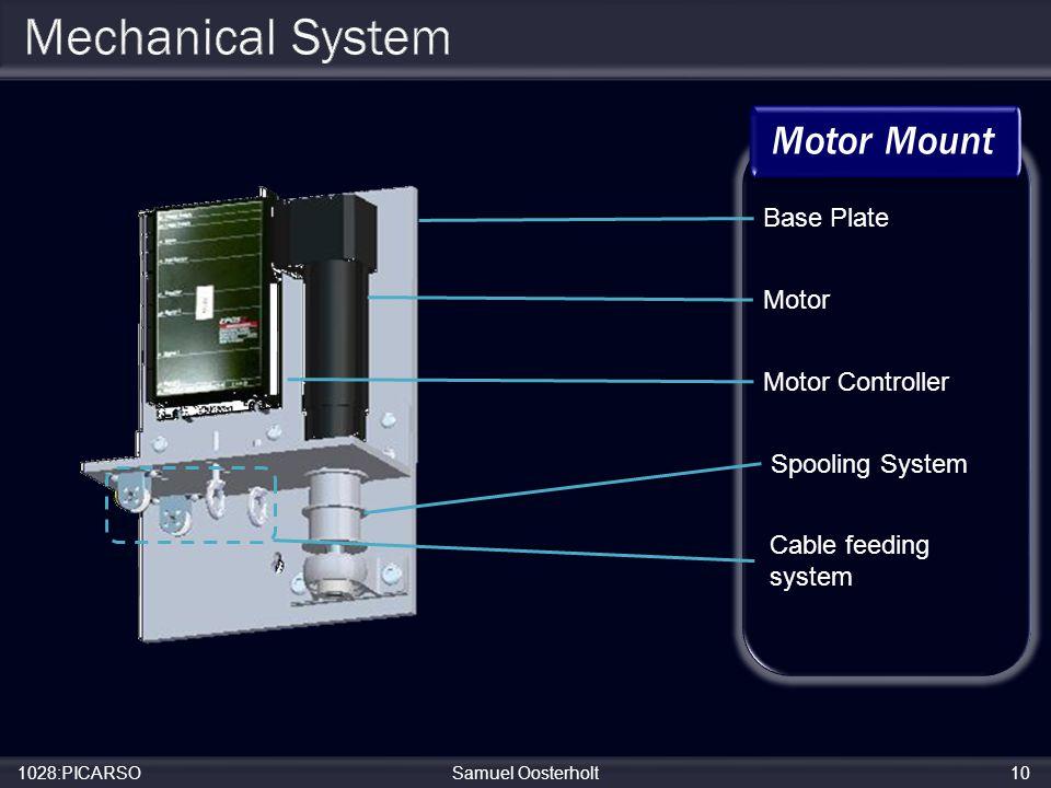 1028:PICARSOSamuel Oosterholt10 Base Plate Motor Motor Controller Spooling System Cable feeding system Motor Mount