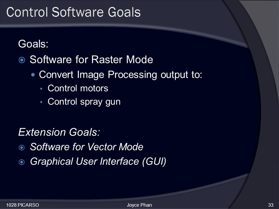 Goals:  Software for Raster Mode Convert Image Processing output to: Control motors Control spray gun Extension Goals:  Software for Vector Mode  Graphical User Interface (GUI) 1028:PICARSOJoyce Phan33