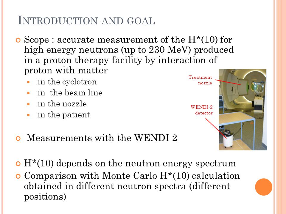 E VALUATION IN THE CYCLOTRON ROOM Model of the cyclotron hall H*(10) calculated by MCNPX 2.5.0 GEANT4 9.6 (by T.