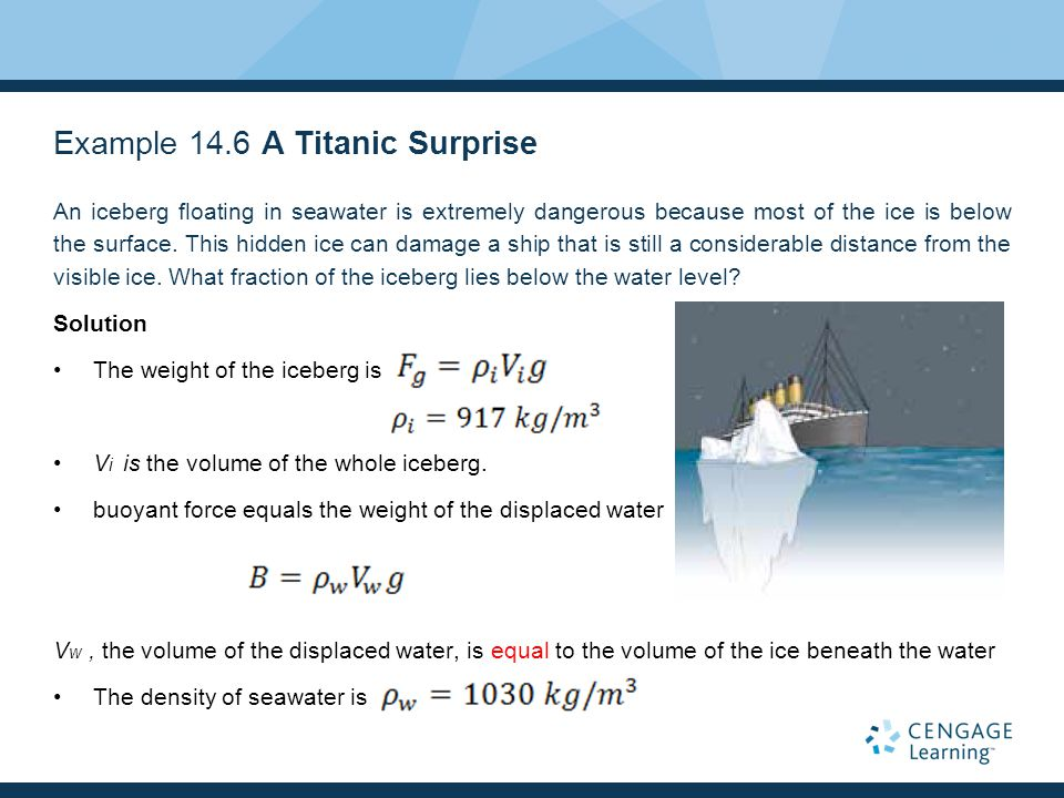 Example 14.6 A Titanic Surprise An iceberg floating in seawater is extremely dangerous because most of the ice is below the surface. This hidden ice c