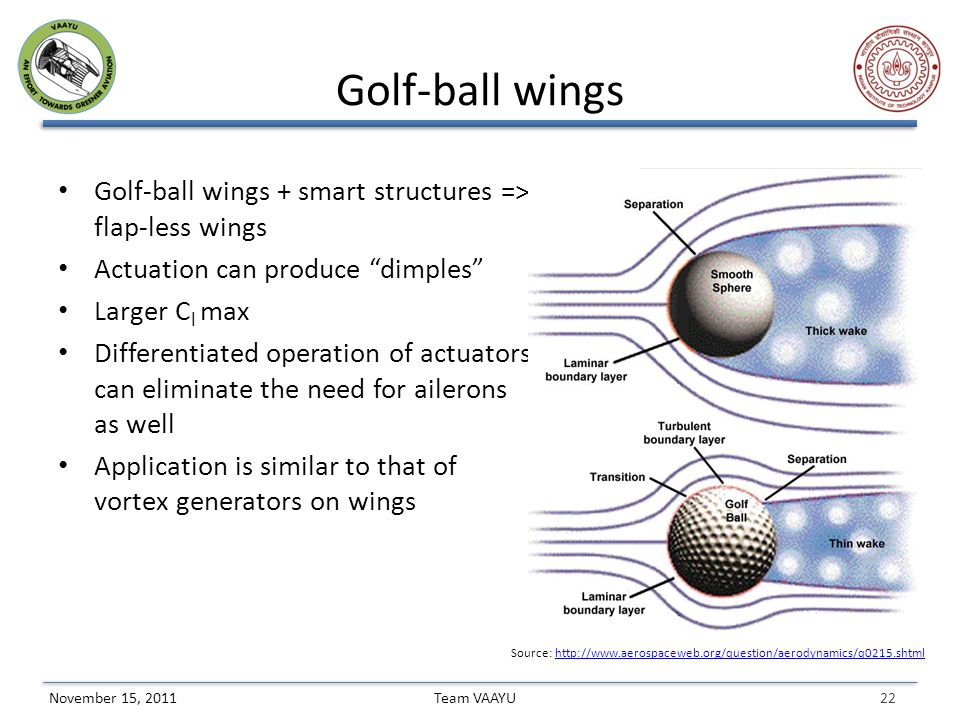 22 Team VAAYUNovember 15, 2011 Golf-ball wings Golf-ball wings + smart structures => flap-less wings Actuation can produce dimples Larger C l max Differentiated operation of actuators can eliminate the need for ailerons as well Application is similar to that of vortex generators on wings Source: http://www.aerospaceweb.org/question/aerodynamics/q0215.shtmlhttp://www.aerospaceweb.org/question/aerodynamics/q0215.shtml
