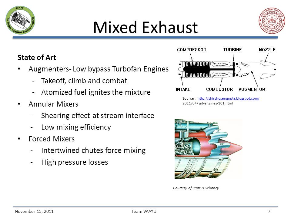7 Team VAAYUNovember 15, 2011 Mixed Exhaust State of Art Augmenters- Low bypass Turbofan Engines - Takeoff, climb and combat -Atomized fuel ignites the mixture Annular Mixers -Shearing effect at stream interface -Low mixing efficiency Forced Mixers -Intertwined chutes force mixing -High pressure losses Source : http://shirshosengupta.blogspot.com/http://shirshosengupta.blogspot.com/ 2011/04/ jet-engines-101.html Courtesy of Pratt & Whitney