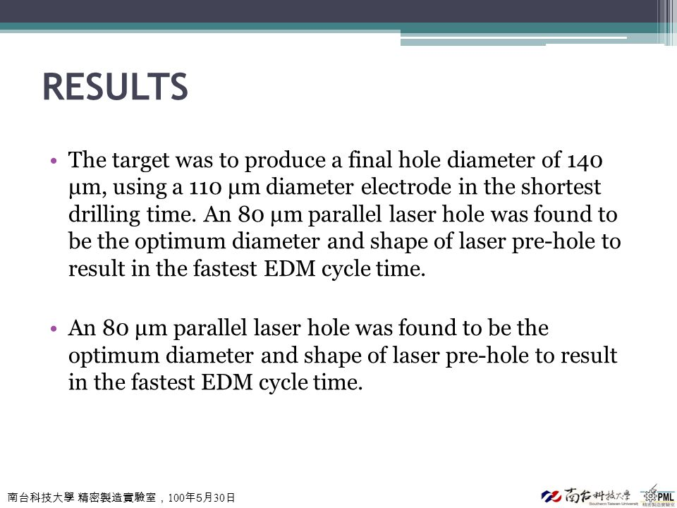 南台科技大學 精密製造實驗室, 100 年 5 月 30 日 RESULTS The target was to produce a final hole diameter of 140 μm, using a 110 μm diameter electrode in the shortest dr