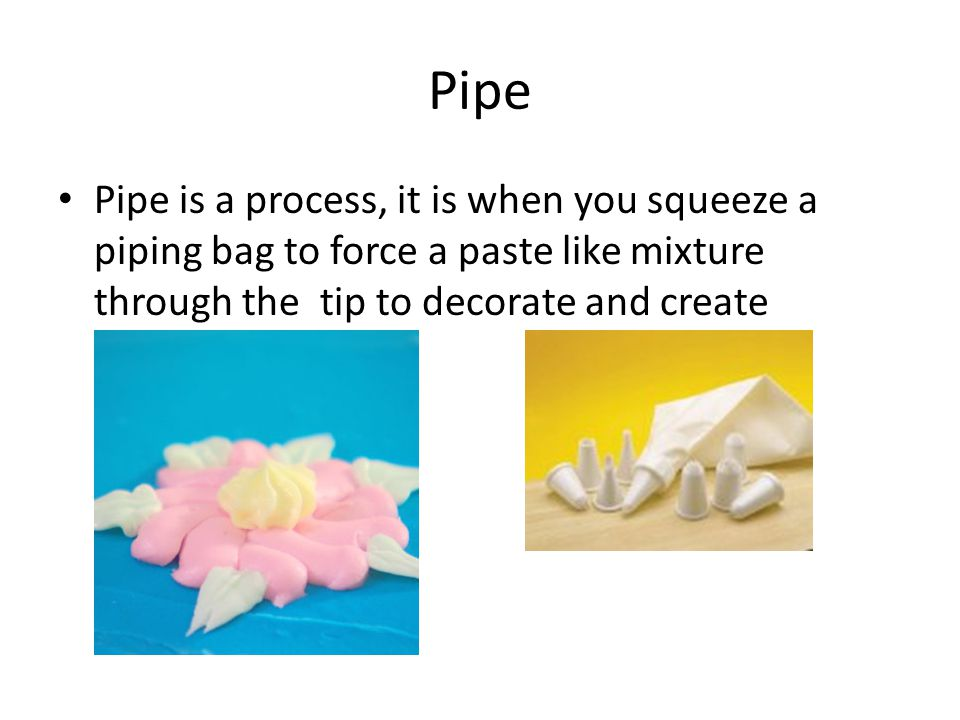 Nozzle A nozzle is the piece that goes into the piping bag when you decorate a cake, it is the piece that makes the different shapes