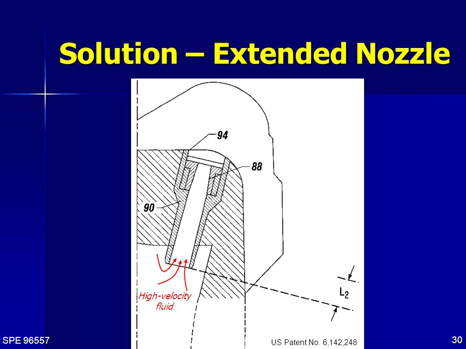 SPE 96557 30 Solution – Extended Nozzle US Patent No. 6,142,248 High-velocity fluid