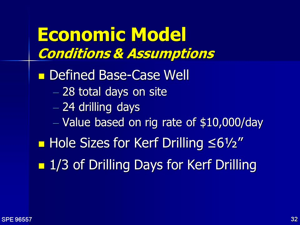 SPE 96557 32 Economic Model Conditions & Assumptions Defined Base-Case Well Defined Base-Case Well – 28 total days on site – 24 drilling days – Value based on rig rate of $10,000/day Hole Sizes for Kerf Drilling ≤6½ Hole Sizes for Kerf Drilling ≤6½ 1/3 of Drilling Days for Kerf Drilling 1/3 of Drilling Days for Kerf Drilling