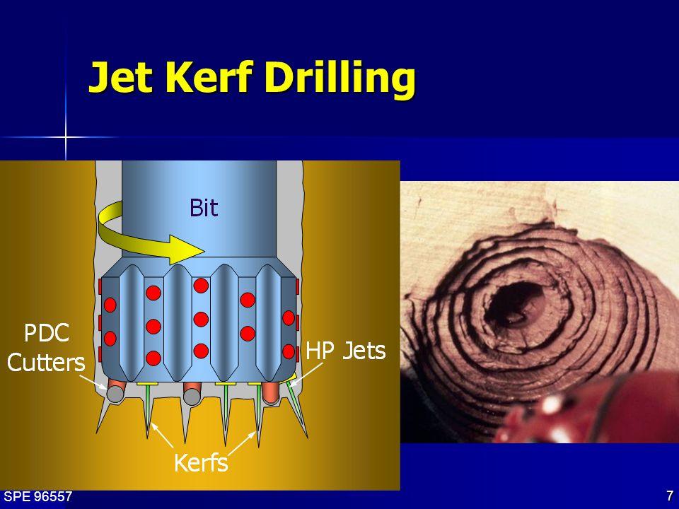 SPE 96557 8 High-Pressure Jet Kerf Rates Bit Weight = 2000 lb 10,000 psi 1,000 psi 110 Jet Drilling Rate (ft/hr) 0 200 400 600 800 1000 1200 1400 1600 Texas Cream Limestone Leander Limestone Glacier Bluff Dolomite Pecos Red Sandstone