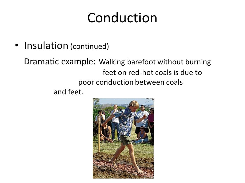 Conduction Insulation (continued) Dramatic example: Walking barefoot without burning feet on red-hot coals is due to poor conduction between coals and