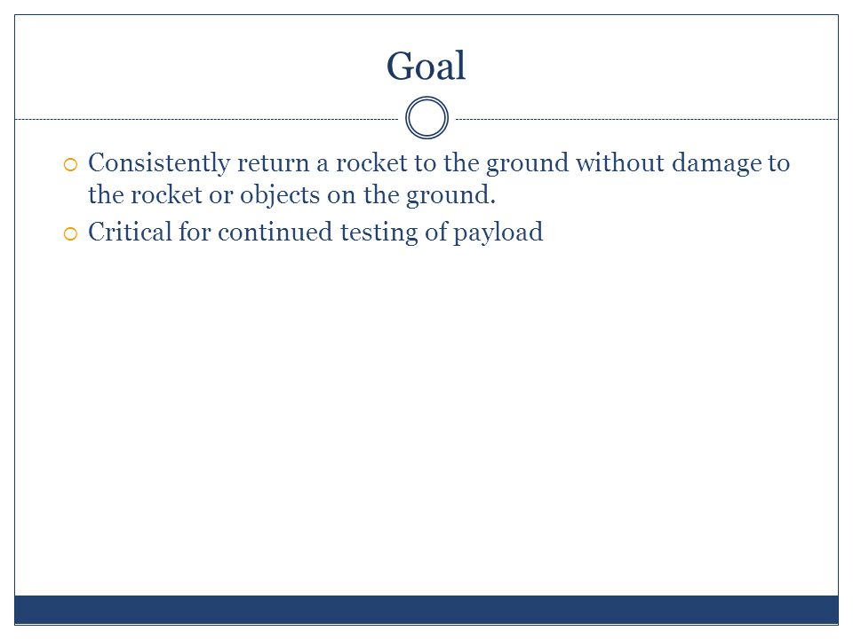 Goal  Consistently return a rocket to the ground without damage to the rocket or objects on the ground.