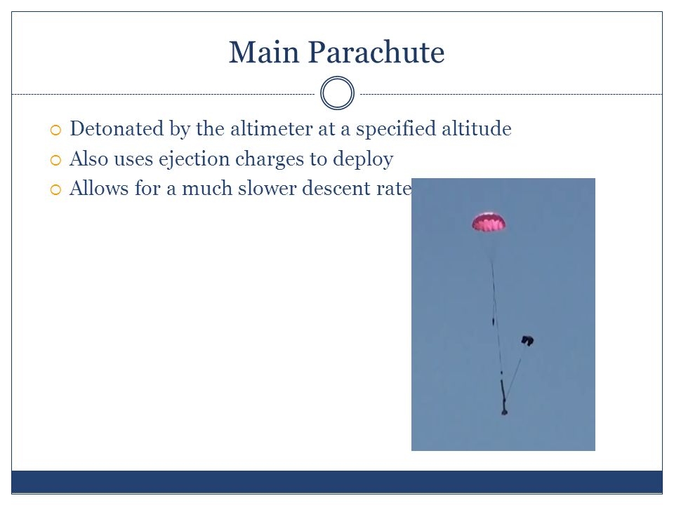 Main Parachute  Detonated by the altimeter at a specified altitude  Also uses ejection charges to deploy  Allows for a much slower descent rate