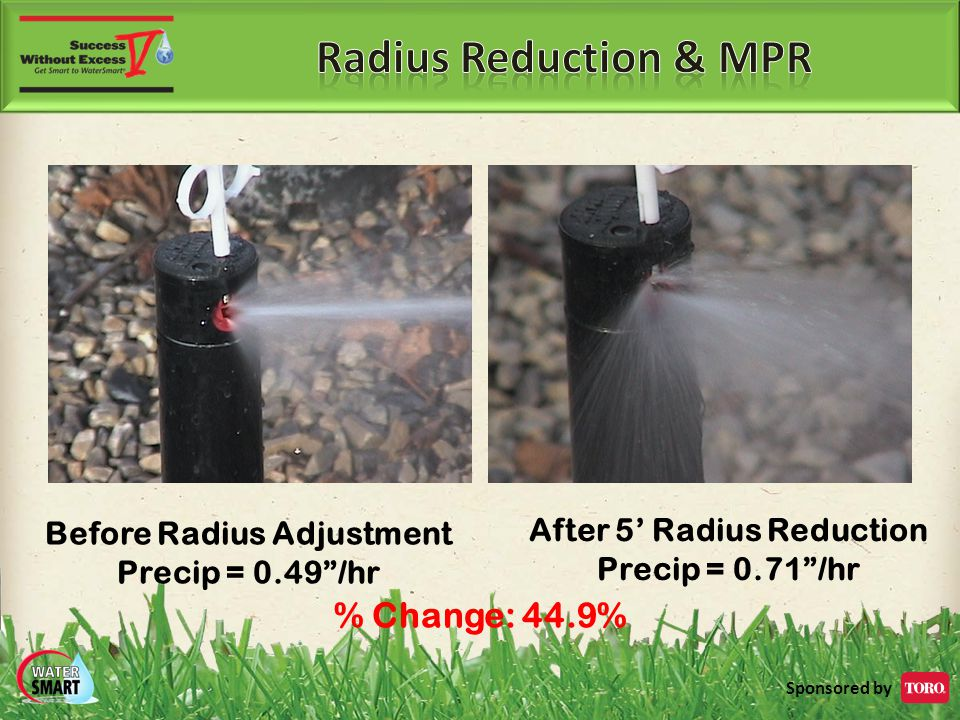 Sponsored by Before Radius Adjustment Precip = 0.49 /hr After 5' Radius Reduction Precip = 0.71 /hr % Change: 44.9%