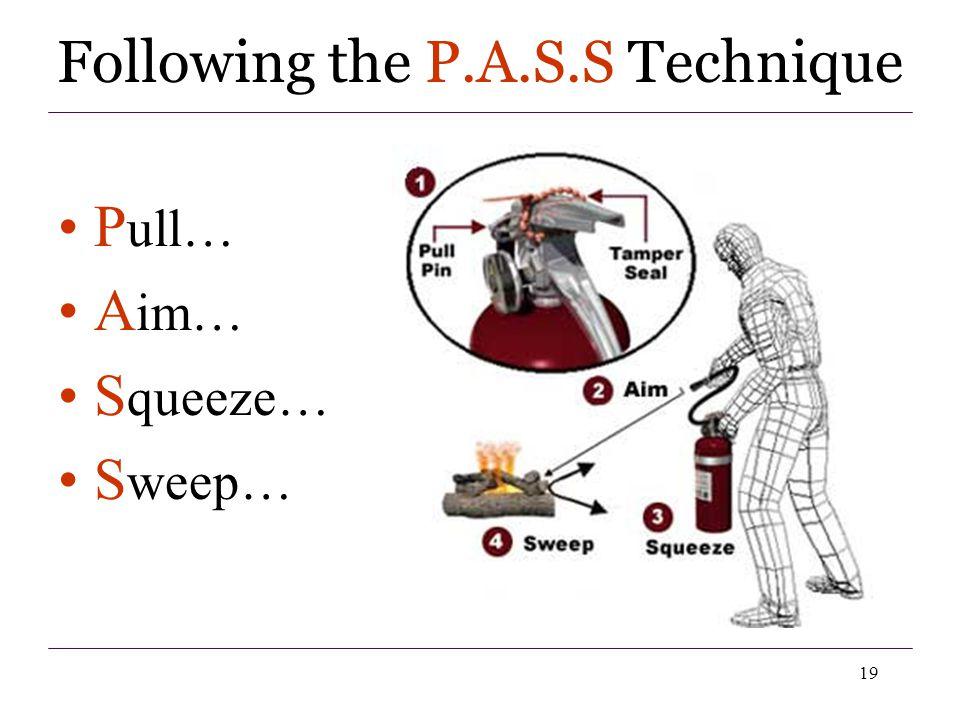 19 P ull… A im… S queeze… S weep… Following the P.A.S.S Technique