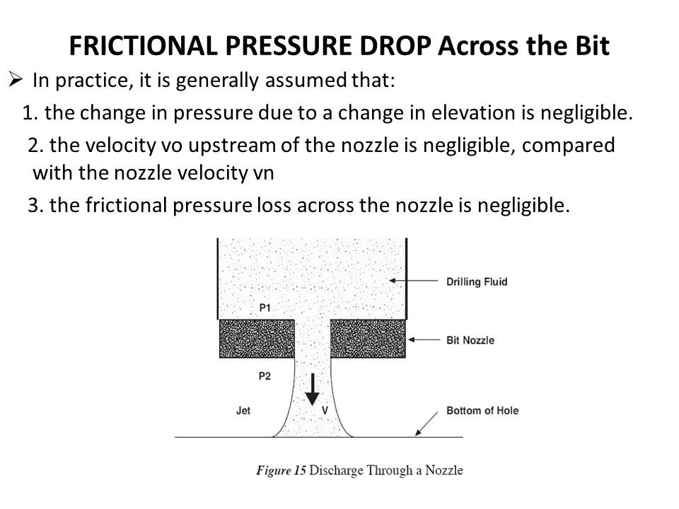 FRICTIONAL PRESSURE DROP Across the Bit  In practice, it is generally assumed that: 1. the change in pressure due to a change in elevation is negligi