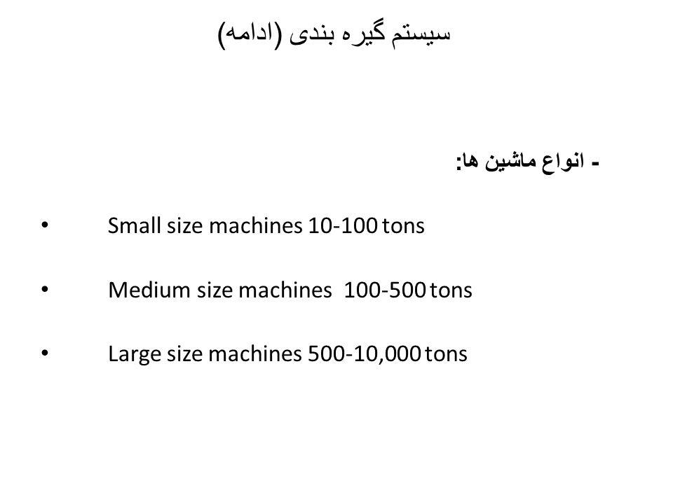 سیستم گیره بندی ( ادامه ) - انواع ماشین ها : Small size machines 10-100 tons Medium size machines 100-500 tons Large size machines 500-10,000 tons