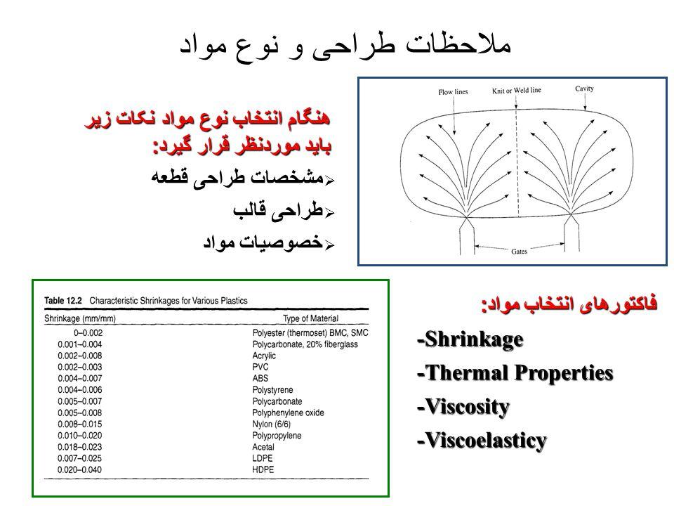 ملاحظات طراحی و نوع مواد فاکتورهای انتخاب مواد : -Shrinkage -Thermal Properties -Viscosity-Viscoelasticy هنگام انتخاب نوع مواد نکات زیر باید موردنظر ق