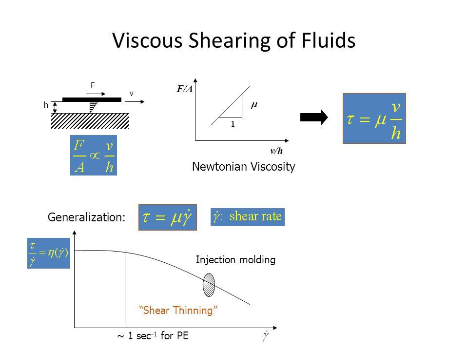 "Viscous Shearing of Fluids v F h F/A v/h 1  Newtonian Viscosity Generalization: Injection molding ""Shear Thinning"" ~ 1 sec -1 for PE"