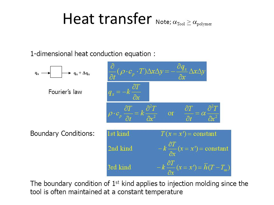Heat transfer Note;  Tool >  polymer Boundary Conditions: 1-dimensional heat conduction equation : The boundary condition of 1 st kind applies to in