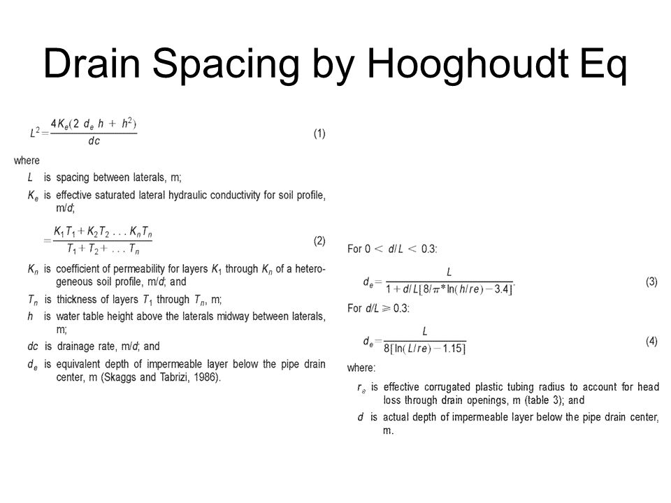 Drain Spacing by Hooghoudt Eq