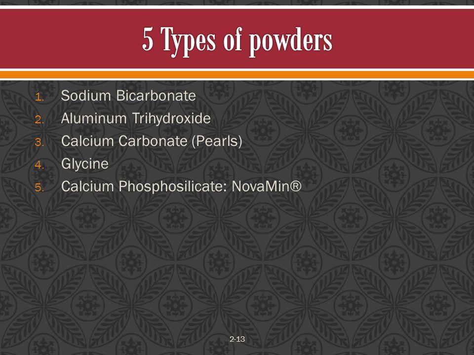 1. Sodium Bicarbonate 2. Aluminum Trihydroxide 3.