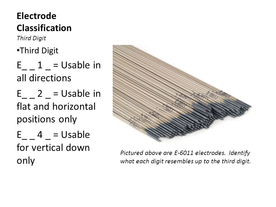 Electrode Classification Third Digit Third Digit E_ _ 1 _ = Usable in all directions E_ _ 2 _ = Usable in flat and horizontal positions only E_ _ 4 _