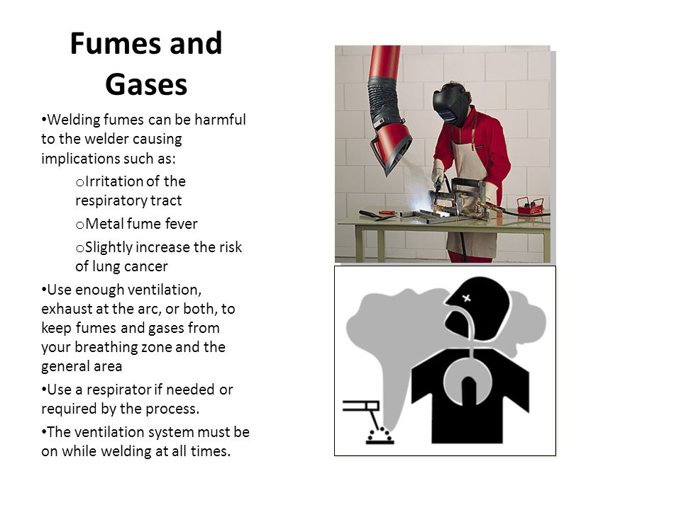 Fumes and Gases Welding fumes can be harmful to the welder causing implications such as: o Irritation of the respiratory tract o Metal fume fever o Sl