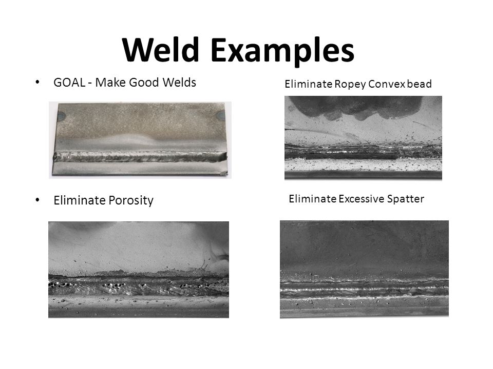 GOAL - Make Good Welds Eliminate Porosity Eliminate Ropey Convex bead Eliminate Excessive Spatter Weld Examples