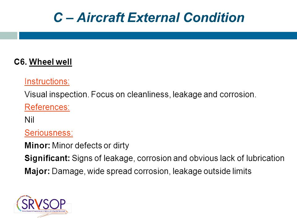 C – Aircraft External Condition C6. Wheel well Instructions: Visual inspection.