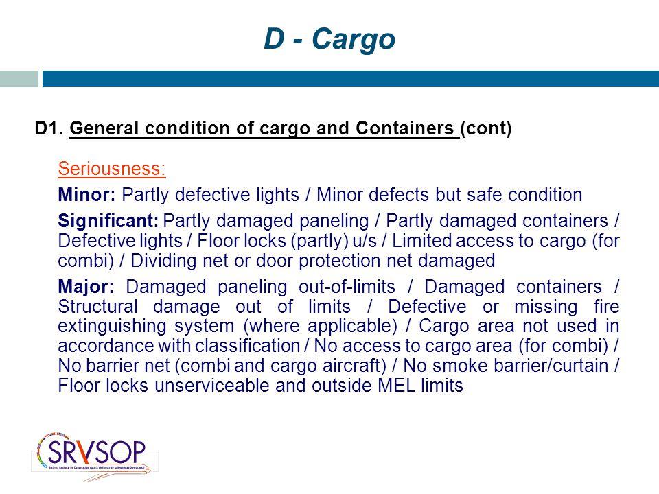 D - Cargo D1.