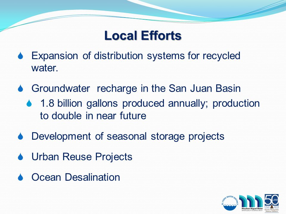  Expansion of distribution systems for recycled water.