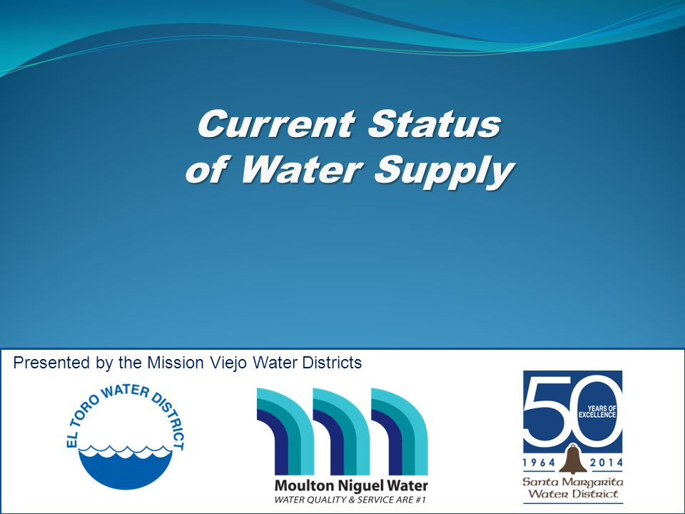 Current Status of Water Supply of Water Supply Presented by the Mission Viejo Water Districts