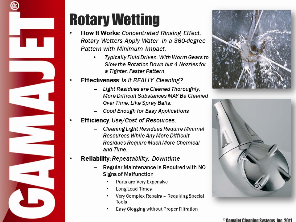 Rotary Wetting How It Works: Concentrated Rinsing Effect. Rotary Wetters Apply Water in a 360-degree Pattern with Minimum Impact. Typically Fluid Driv
