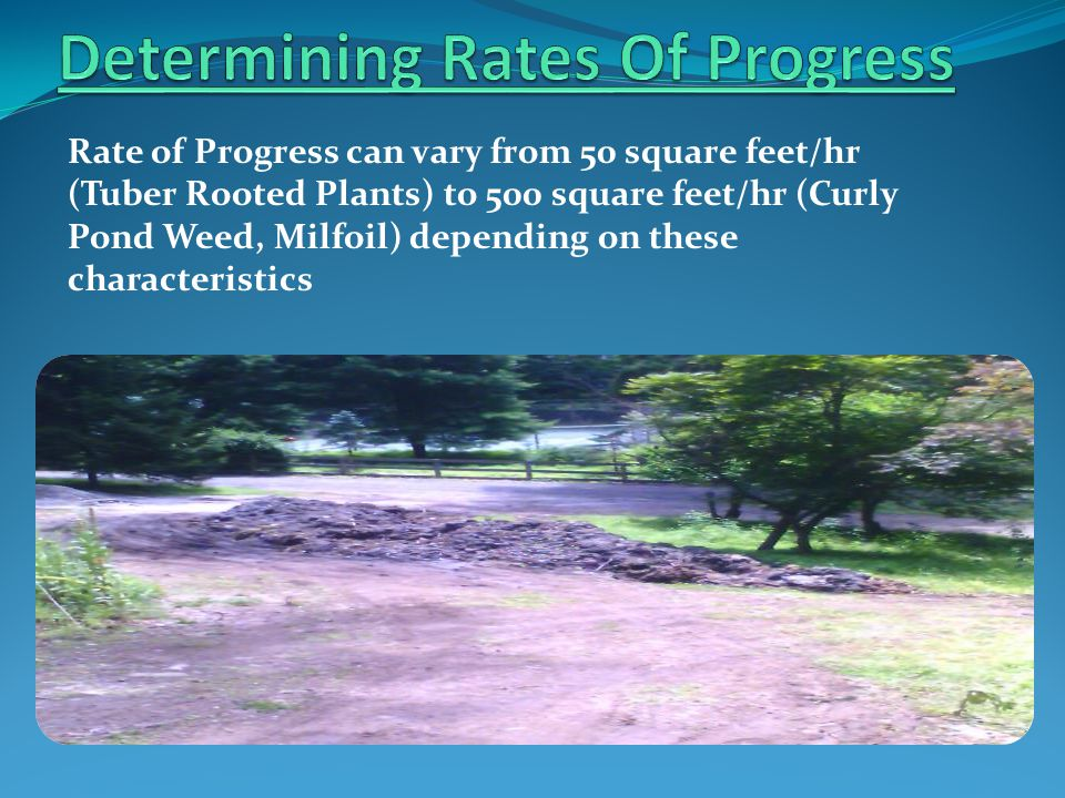 Rate of Progress can vary from 50 square feet/hr (Tuber Rooted Plants) to 500 square feet/hr (Curly Pond Weed, Milfoil) depending on these characteris