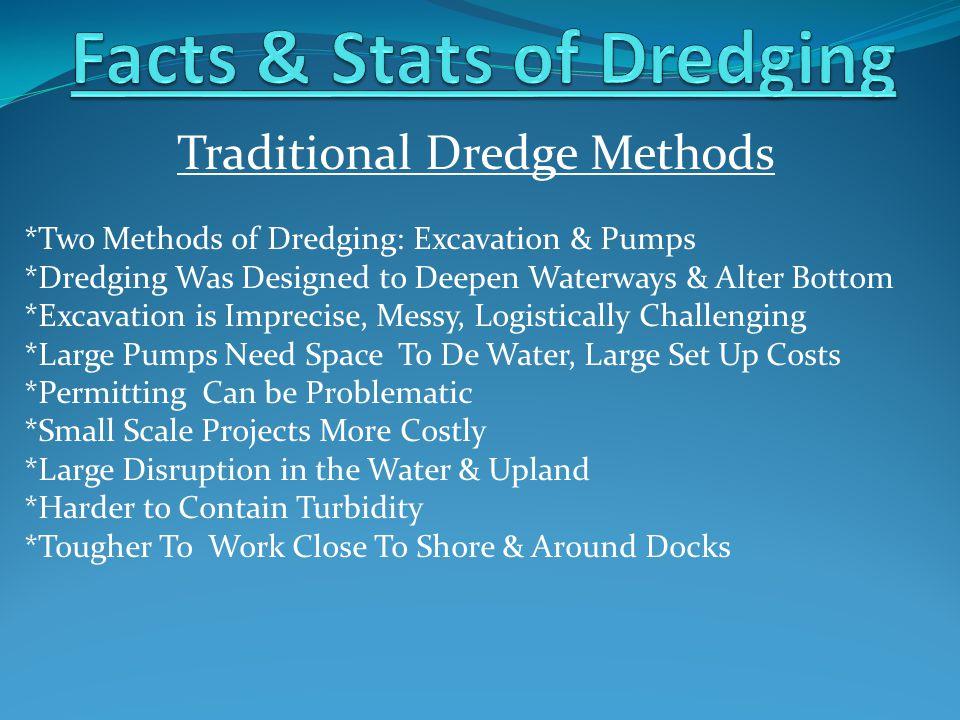 Traditional Dredge Methods *Two Methods of Dredging: Excavation & Pumps *Dredging Was Designed to Deepen Waterways & Alter Bottom *Excavation is Impre