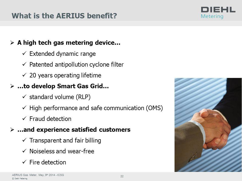 AERIUS Gas Meter, May, 9 th 2014 - ICSG © Diehl Metering 22 What is the AERIUS benefit.