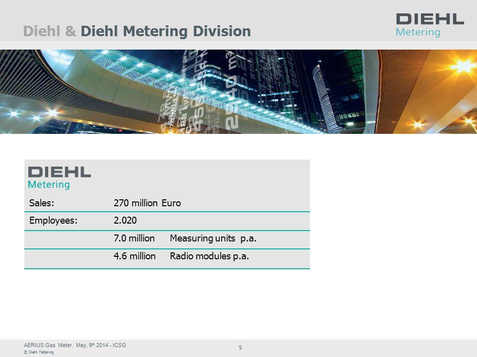 AERIUS Gas Meter, May, 9 th 2014 - ICSG © Diehl Metering 5 Diehl & Diehl Metering Division Sales:270 million Euro Employees:2.020 7.0 millionMeasuring units p.a.