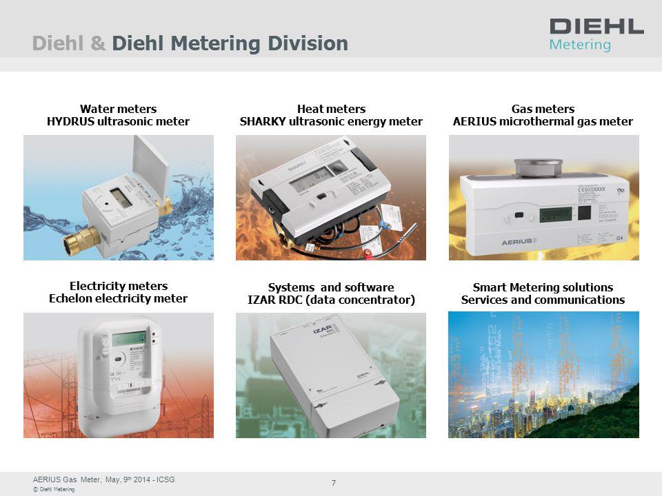 AERIUS Gas Meter, May, 9 th 2014 - ICSG © Diehl Metering 7 Diehl & Diehl Metering Division Water meters HYDRUS ultrasonic meter Systems and software I