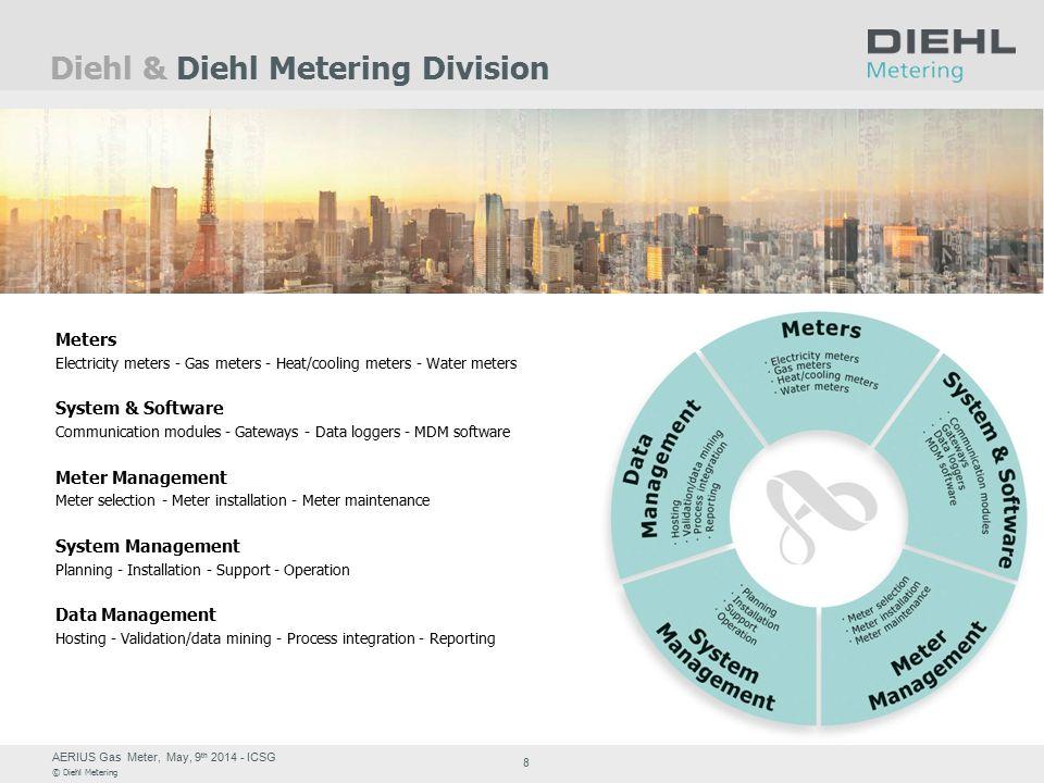 AERIUS Gas Meter, May, 9 th 2014 - ICSG © Diehl Metering 8 Diehl & Diehl Metering Division Meters Electricity meters - Gas meters - Heat/cooling meter