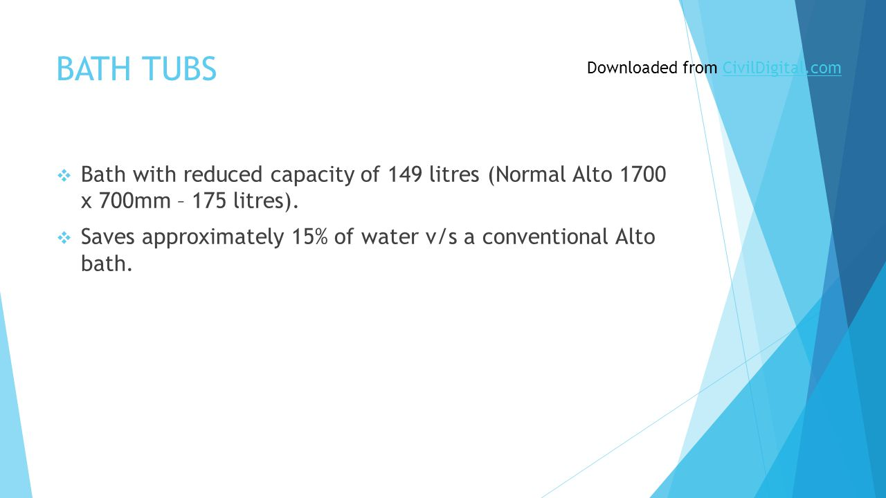 BATH TUBS  Bath with reduced capacity of 149 litres (Normal Alto 1700 x 700mm – 175 litres).