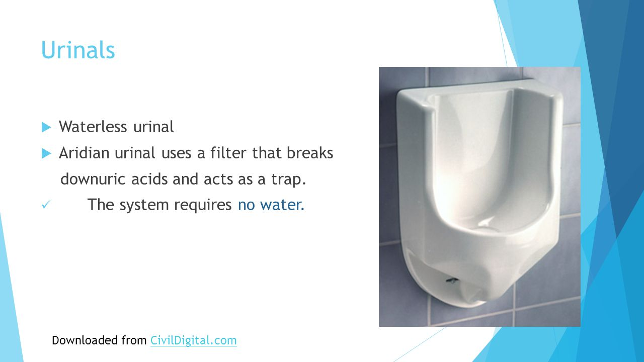 Urinals  Waterless urinal  Aridian urinal uses a filter that breaks downuric acids and acts as a trap.