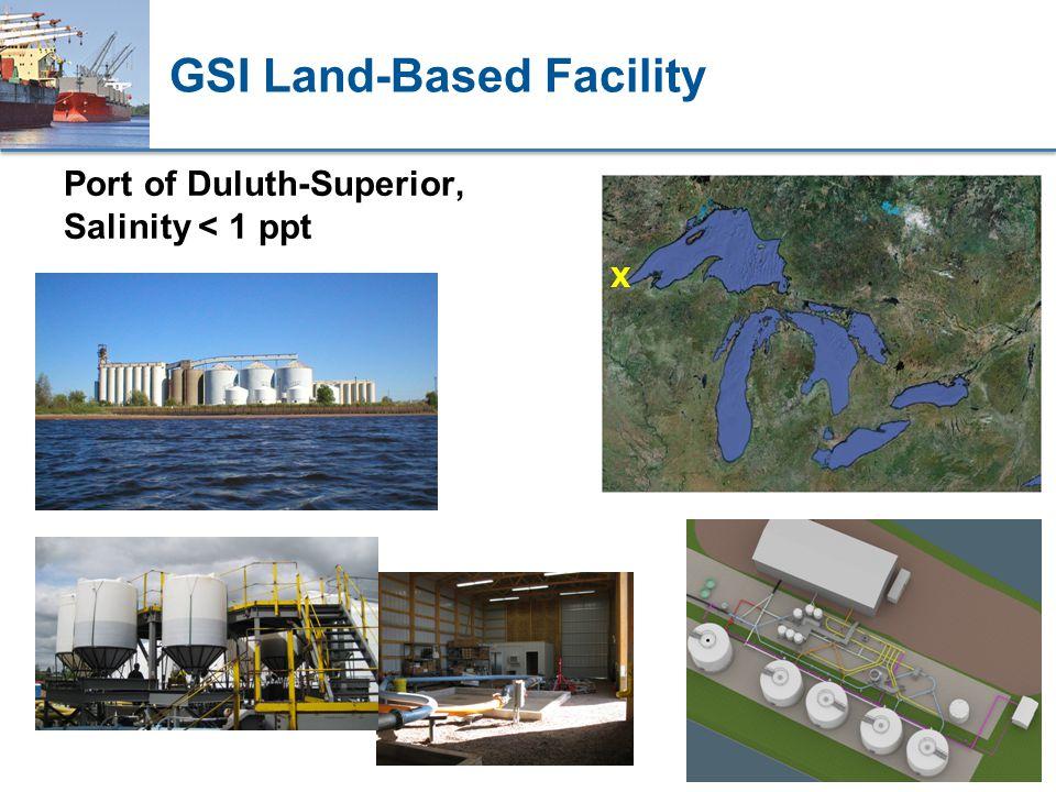 GSI Land-Based Facility Port of Duluth-Superior, Salinity < 1 ppt X