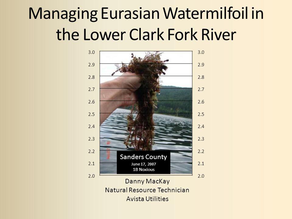 Managing Eurasian Watermilfoil in the Lower Clark Fork River Danny MacKay Natural Resource Technician Avista Utilities 3.0 2.9 2.8 2.7 2.6 2.5 2.4 2.3 2.2 2.1 2.0 3.0 2.9 2.8 2.7 2.6 2.5 2.4 2.3 2.2 2.1 2.0 Sanders County June 17, 2007 1B Noxious