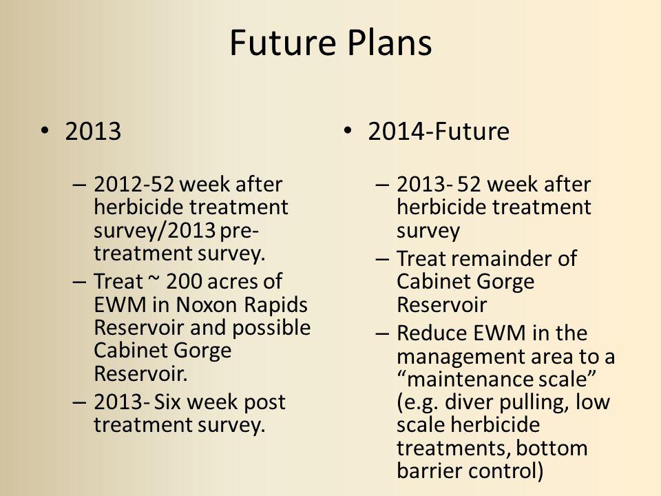 Future Plans 2013 – 2012-52 week after herbicide treatment survey/2013 pre- treatment survey.