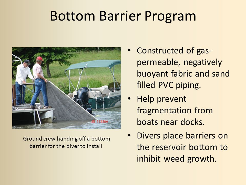 Bottom Barrier Program Constructed of gas- permeable, negatively buoyant fabric and sand filled PVC piping.