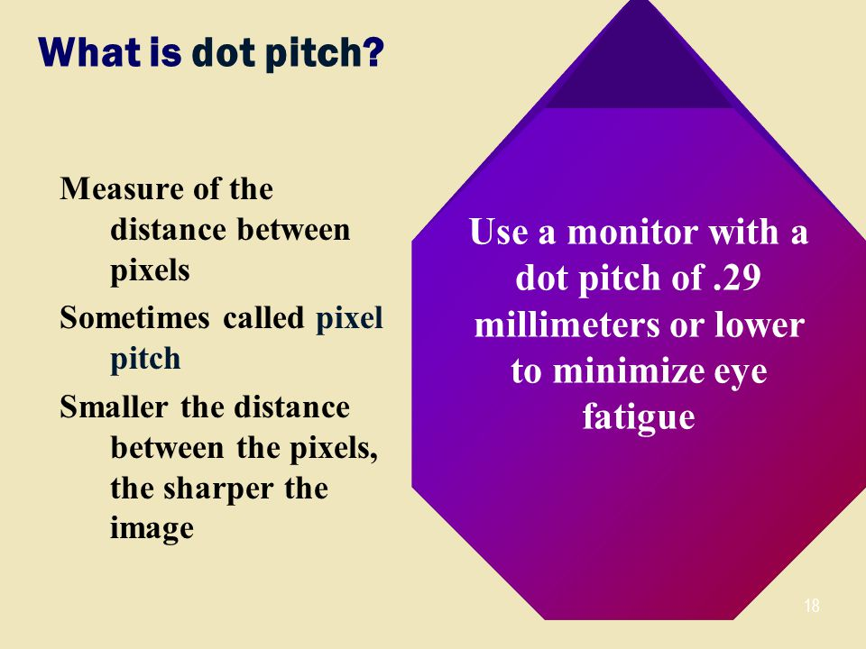 18 What is dot pitch.