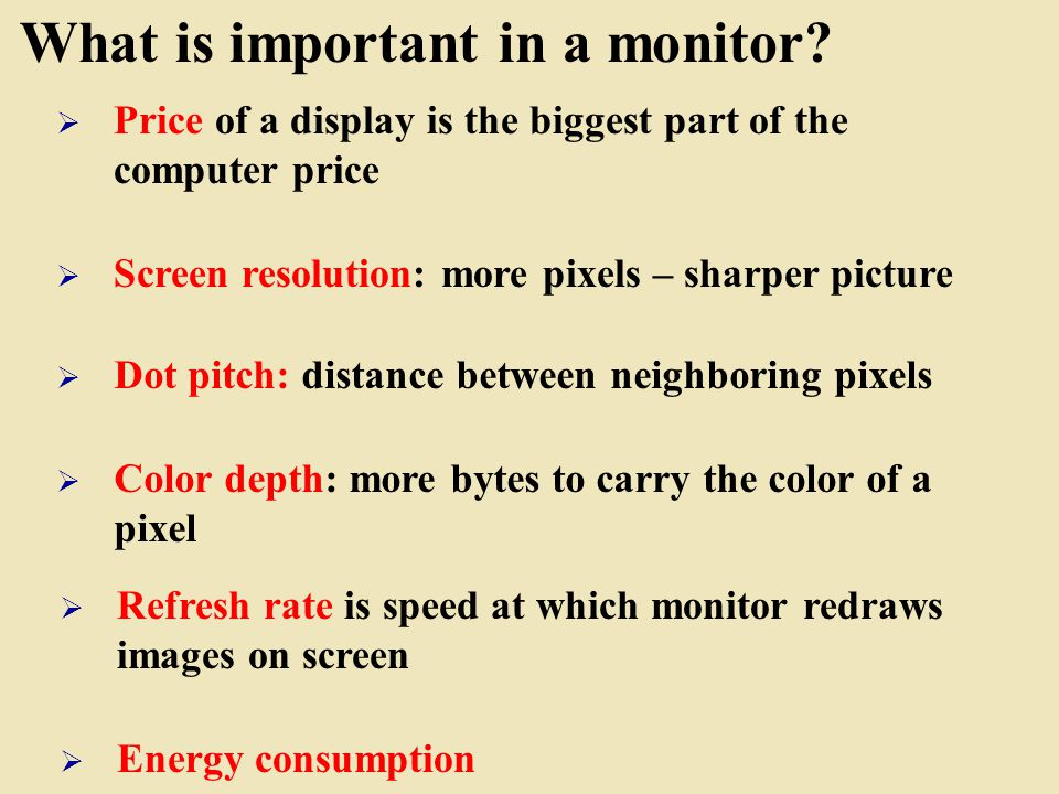 What is important in a monitor.