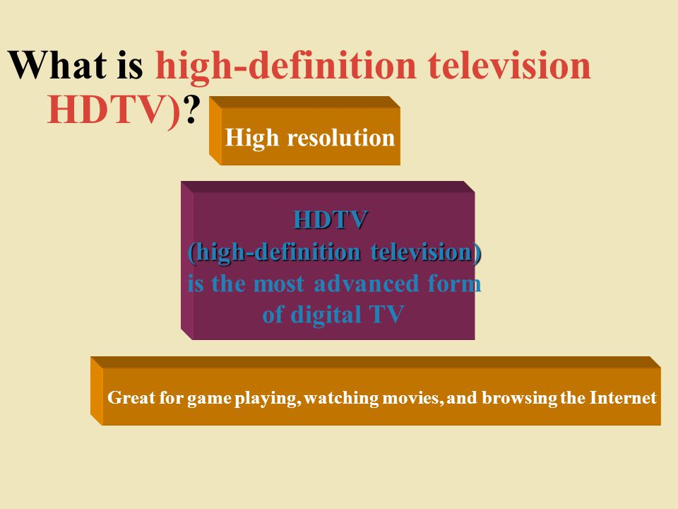 Great for game playing, watching movies, and browsing the Internet HDTV (high-definition television) HDTV (high-definition television) is the most advanced form of digital TV What is high-definition television HDTV).