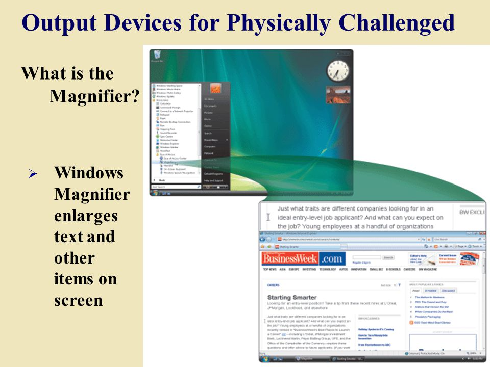 Output Devices for Physically Challenged What is the Magnifier.