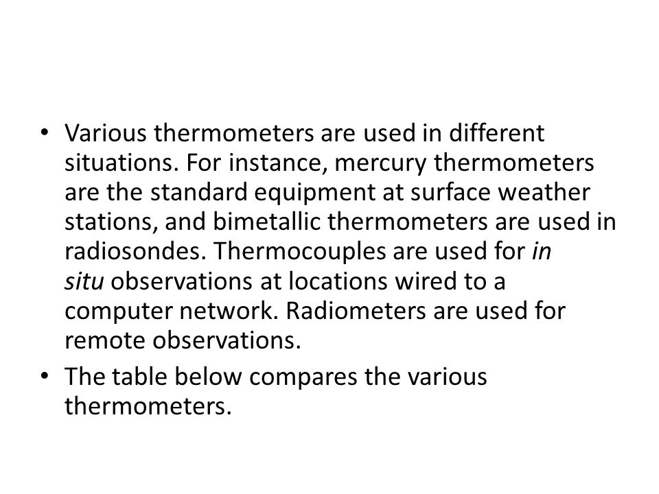 Various thermometers are used in different situations.